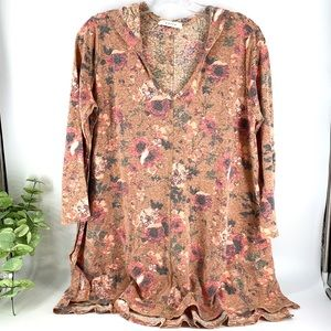 New! Desert Floral Hoodie Top with Side Slits